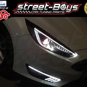 LED DRL Demon Eyes ΕΜΠΡΟΣ ΦΑΝΑΡΙΑ ΔΥΝΑΜΙΚΗΣ ΑΚΟΛΟΥΘΙΑΣ ΓΙΑ Ford Focus RS ST MK3 (2015+)
