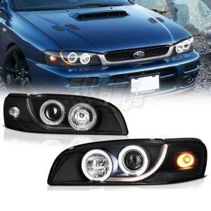 SUBARU IMPREZA STI HEADLIGHTS DRL TAILLIGHTS XENON ANGEL EYES CAR TUNING EUROPE